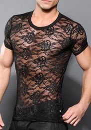 Andrew Christian Sexy Lace T Shirt 10313 Black