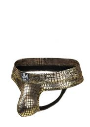 Jockmail Reflective Embossed Thong Gold