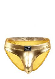 Jockmail Faux Leather Brief Gold