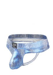 Jockmail Reflective Embossed Thong Blue