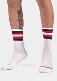 Barcode Berlin Half Fetish Socks Stripes White Black Red