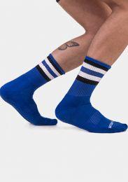 Barcode Berlin Half Fetish Socks Stripes Royal Black White