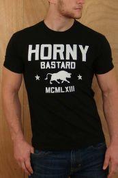 Ajaxx63 Horny Bastard T Shirt  Black
