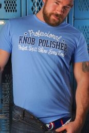 Burly Shirts Knob Polisher T Shirt Blue
