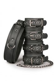 EasyToys Fetish Set with Collar Ankle and Wrist Restraints
