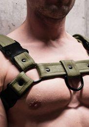 Gilded Fetish Bulldog Sport Harness Army Green