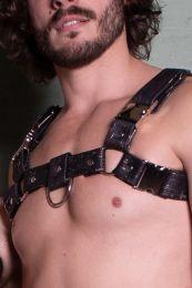 Gilded Fetish Vegan Leather Bulldog Harness Black Gold