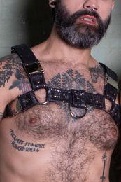 Gilded Fetish Vegan Leather Bulldog Harness Black Silver