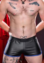 Mr S Leather Leather Gym Short with Zipper Pocket Blue