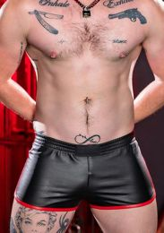 Mr S Leather Leather Gym Short with Zipper Pocket Red