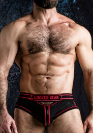 Locker Gear Josh Open Front Bottomless Brief Red