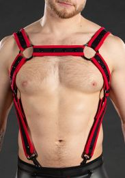Mr S Leather Neo Carbon Black Crossbow Harness Black Red