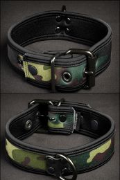 Mr S Leather Neoprene Puppy Collar Camo Black