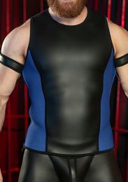 Mr S Leather Neoprene Muscle Tank Top Black Blue