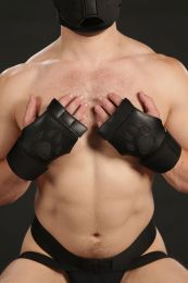 Mr S Leather Open Paw Puppy Gloves Black