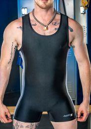 Mr S Leather Tag Team Singlet Black