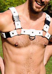 Gilded Fetish Leather Bulldog Sport Harness White