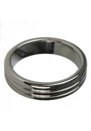 ruff GEAR Stainless Steel Ribbed Cock Ring Medium 50mm x 10mm