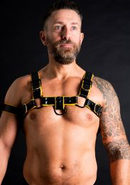 ruff GEAR Double Tone Leather Bulldog Harness Yellow Black