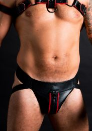 ruff GEAR Double Tone Leather Zip Jockstrap Red Black