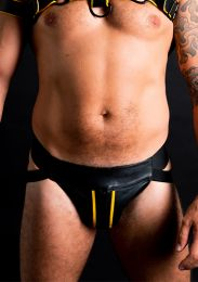 ruff GEAR Double Tone Leather Zip Jockstrap Yellow Black