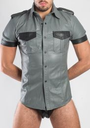 ruff GEAR Leather Uniform Shirt Grey Black